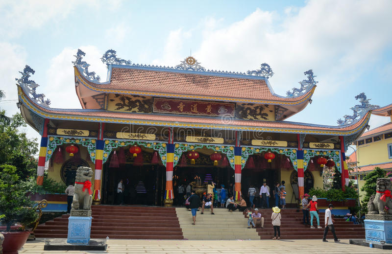 People visit temple at Chinatown in Georgetown, Malaysia stock photo