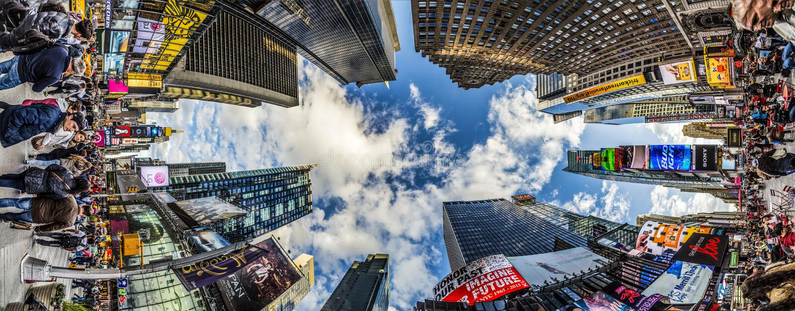 People visit Times Square, featured with Broadway Theaters and h. NEW YORK, USA - OCT 21, 2015: people visit Times Square, featured with Broadway Theaters and stock photo