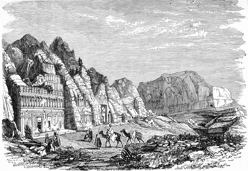 People visiting the ancient city of Petra. Engraving of people visiting the ancient city of Petra. From an original engraving in Remarkable Adventures From Real stock illustration