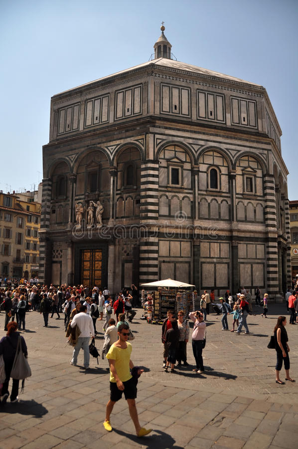 People Visiting the Baptistry Florence, Italy stock images