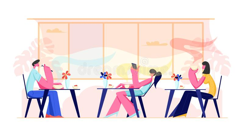 People Visiting Cafe and Hospitality Concept. Male and Female Characters Sitting at Tables Drinking Beverages, Eating Meal. Using Gadgets in Modern Restaurant royalty free illustration