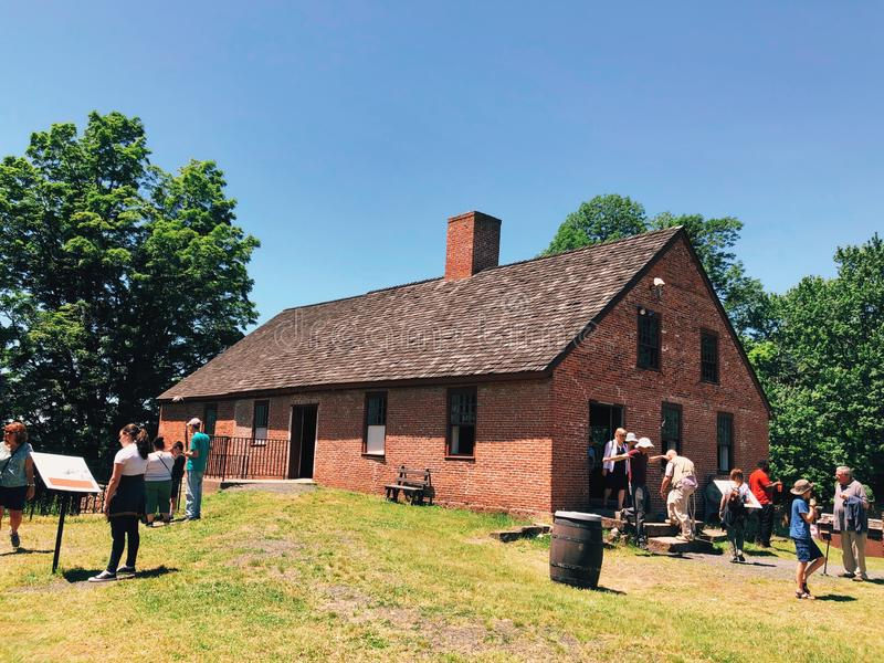 People visiting Old Newgate Prison. That is a former prison and mine site on Newgate Road in East Granby, Connecticut,United States stock photography