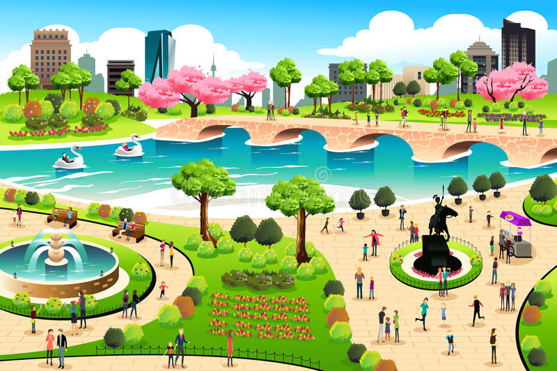 People Visiting a Public Park stock illustration