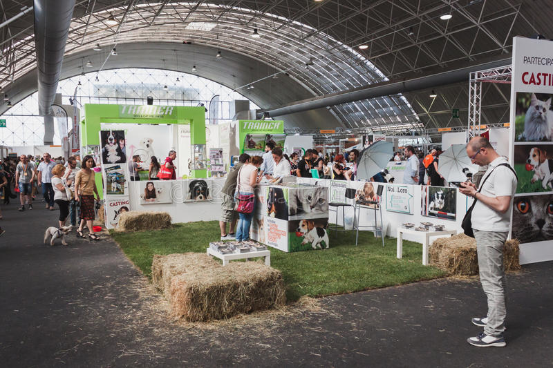 People visiting Quattrozampeinfiera in Milan, Italy. MILAN, ITALY - JUNE 7: People visit Quattrozampeinfiera, event and activities dedicated to dogs, cats and royalty free stock photography