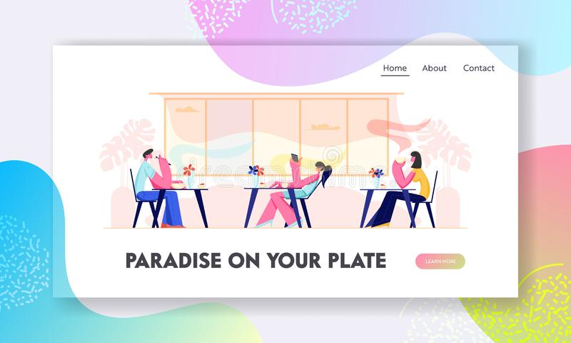 People Visiting Restaurant. Characters Sitting at Tables Drinking Beverages, Eating Meal, Using Gadgets in Cafe, Hospitality. Website Landing Page, Web Page stock illustration