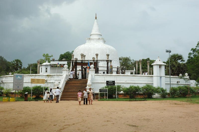 People visiting sacred Thuparamaya stupa,Sri Lanka stock image