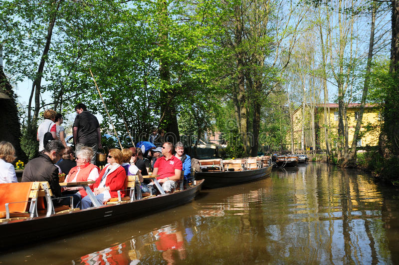 People visiting the Spreeewald with its landscape of spree river. Luebbenau, Brandenburg/ GERMANY April 24 2011: People visiting the Spreewald with its landscape royalty free stock photos