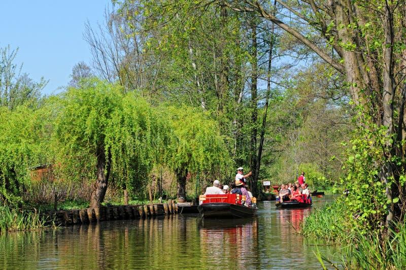 People visiting the Spreeewald with its landscape of spree river. Luebbenau, Brandenburg/ GERMANY April 24 2011: People visiting the Spreewald with its landscape stock image