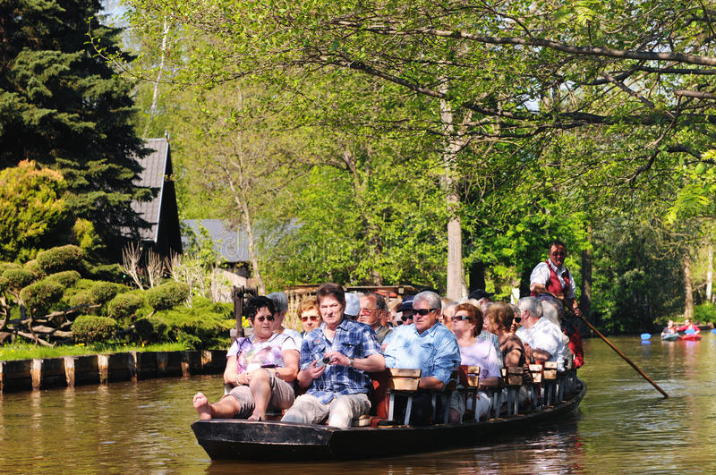 People visiting the Spreeewald with its landscape of spree river. Luebbenau, Brandenburg/ GERMANY April 24 2011: People visiting the Spreewald with its landscape royalty free stock images