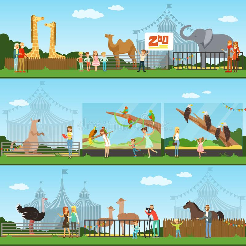 People visiting an zoo set of vector Illustrations, parents with children watching wild animals vector illustration