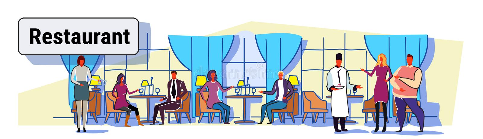 People visitors sitting at restaurant tables waiters showing hospitality and serving guests modern cafe interior design. Colorful sketch flow style horizontal vector illustration