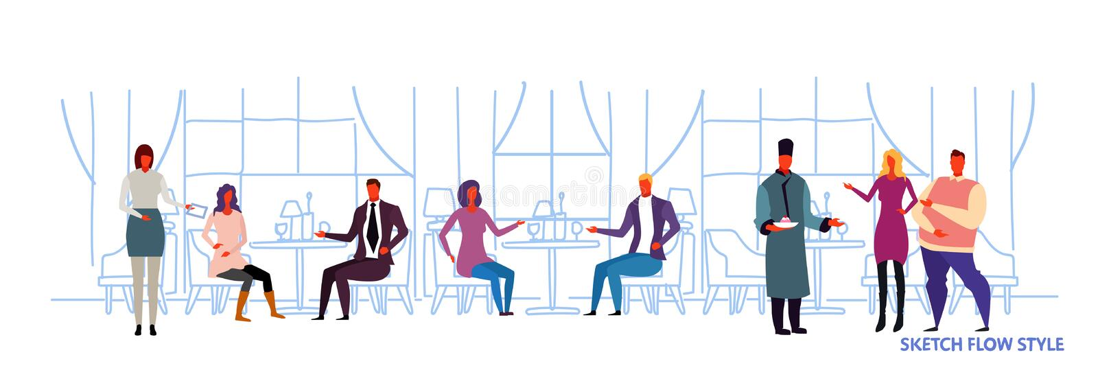 People visitors sitting at restaurant tables waiters showing hospitality and serving guests modern cafe interior design. Sketch flow style horizontal banner royalty free illustration