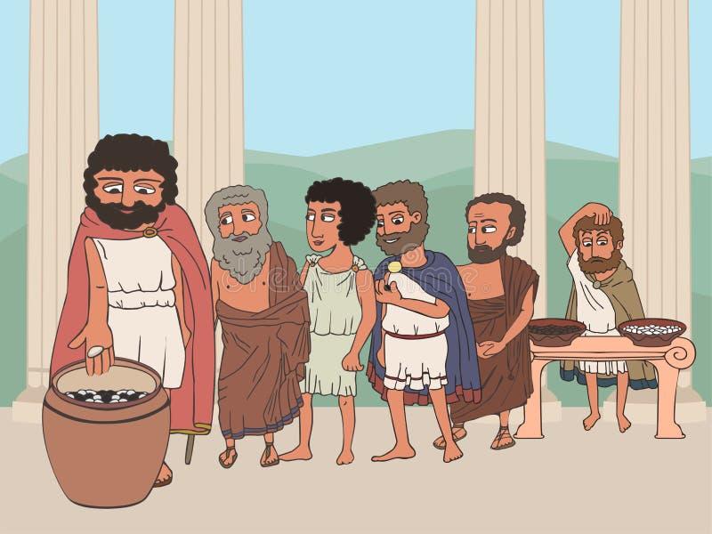 People voting in ancient greece polis cartoon vector illustration