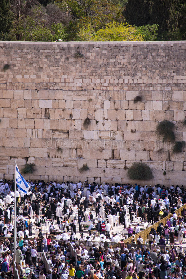People at the Wailing Wall stock photography