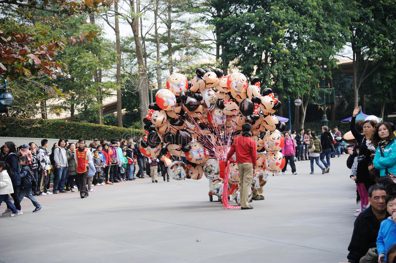People Wait Disney Parade Editorial Photo