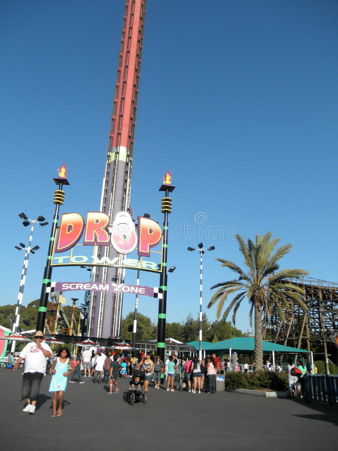 People wait in line for Drop Tower Scream Zone at Great America stock photo