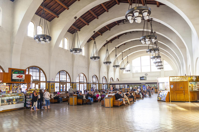 People wait for the trains inside. SAN DIEGO, USA - JUNE 11: people wait for the trains inside Union Station on June 11, 2012 in San Diego, USA. The Spanish stock photography