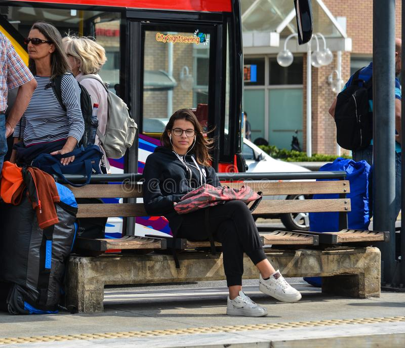 People waiting for bus in Athens, Greece. Athens, Greece - Oct 13, 2018. People waiting for bus in Athens, Greece. Athens is a global city and one of the biggest royalty free stock photos