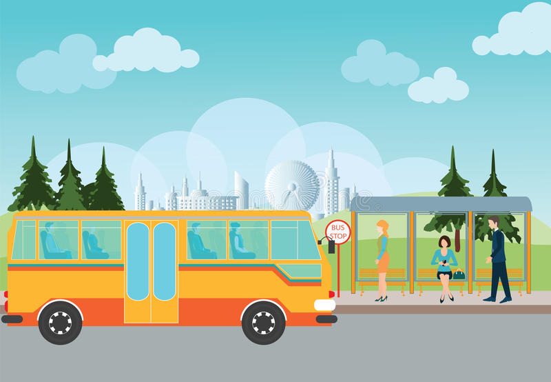 People waiting for a bus at the bus stop. stock illustration