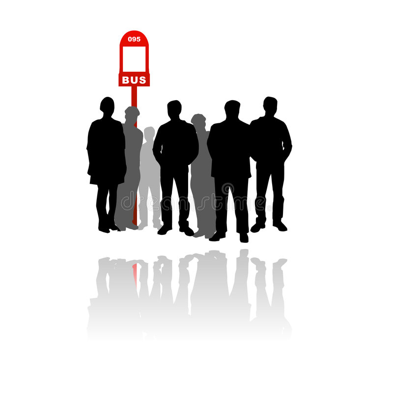People waiting at bus stop stock illustration