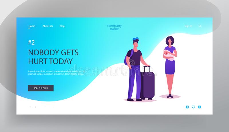 People Waiting Elevator Website Landing Page. Man Hold Luggage and Young Woman with Little Baby on Hands Stand in Hall Wait Lift vector illustration