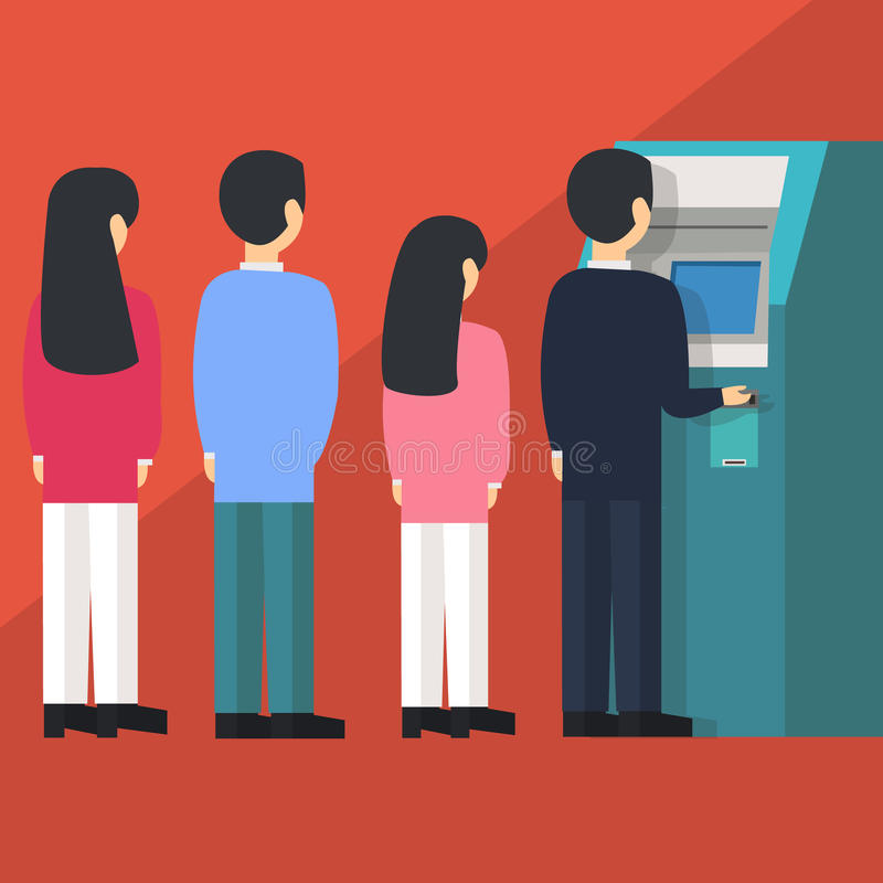 Free People Waiting In Line Queue To Draw Money From Self-service ATM Automated Teller Machine Cartoon Vector Illustration Royalty Free Stock Image - 64600896