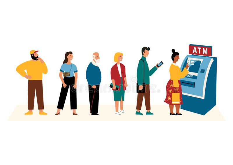 People waiting in line near atm machine. Flat cartoon vector illustration, isolated on white vector illustration