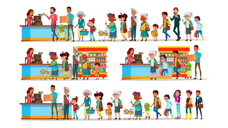 People Waiting In Long Queue To Cashier Set Vector royalty free illustration