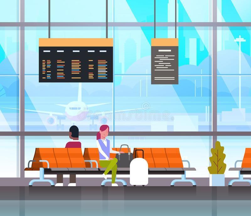 People Waiting For Takeoff In Airport Hall Or Departure Lounge Passangers Terminal Check In Interior. Flat Vector Illustration stock illustration