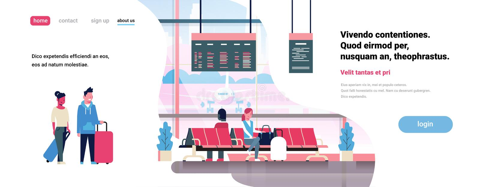 People waiting takeoff in airport hall departure lounge passengers terminal check interior flat banner copy space. Vector illustration stock illustration