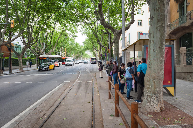 People are waiting for tram to Tibidabo entertainment park stock images
