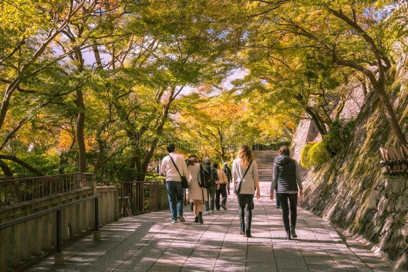 People waking through Kiyomizu Garden with back lit trees close to sunset royalty free stock images