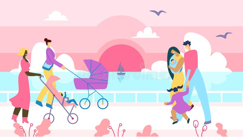People Walk Along Promenade Cartoon Illustration. Happy Families Day. Two Flat Vector Mothers with Babies in Strollers Going Toward Young Married Couple with royalty free illustration