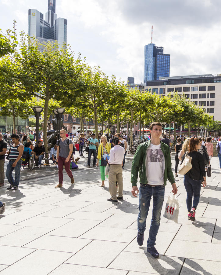 People walk along the Zeil in Frankfurt am Main royalty free stock images