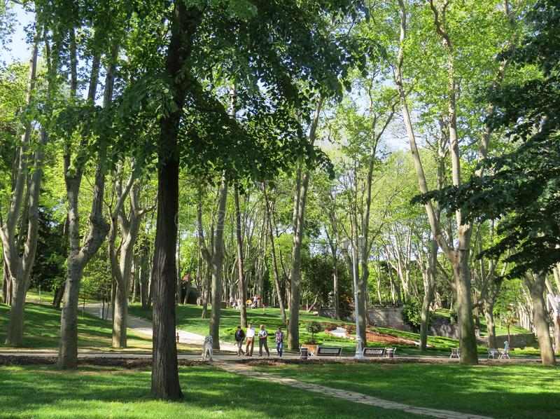 People walk in the historic city park Gulhane stock photography