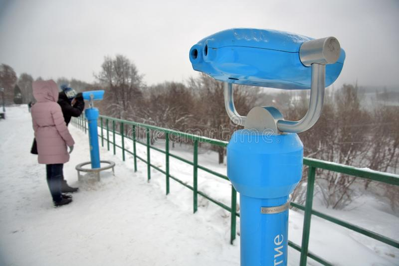 People walk in Kolomenskoye park in Moscow. Color winter photo royalty free stock photo