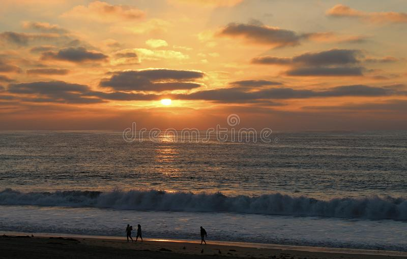 Late Summer Sunset at Torrance State Beach, Los Angeles County, California royalty free stock photo