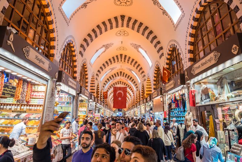 People walk in Spice or Egyptian Bazaar royalty free stock photos