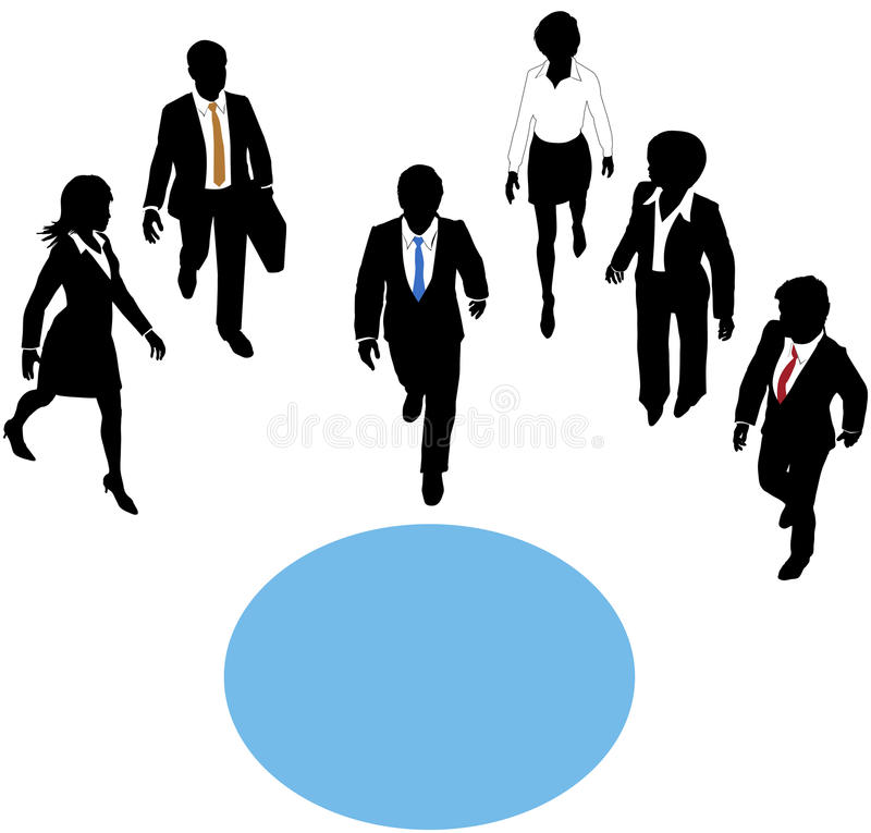 People walk to join paths at center circle stock illustration