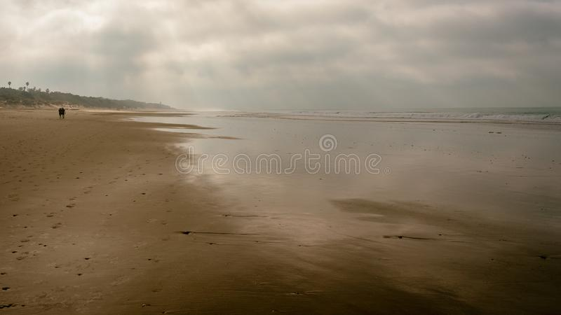 Chiclana beaches with cloudy day royalty free stock photos