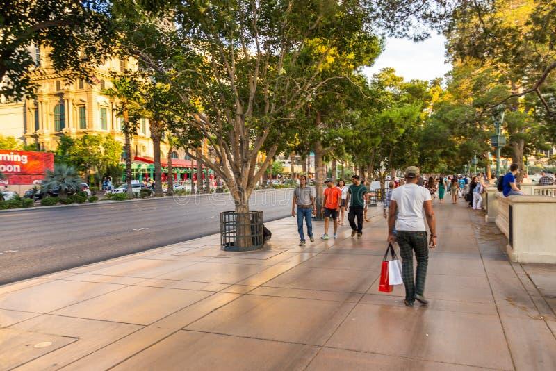 People walking along the Las Vegas Boulevard, Las Vegas, USA royalty free stock image