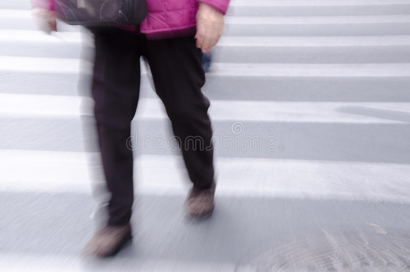 People walking on big city street stock photo