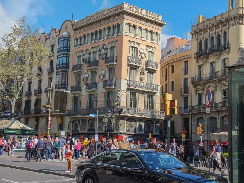 People Walking in Busy La Rambla Barcelona Spain royalty free stock image