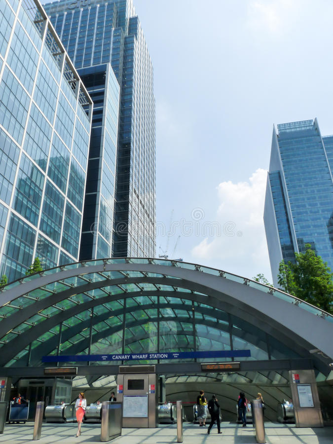 People walking at Canary wharf station, London royalty free stock images