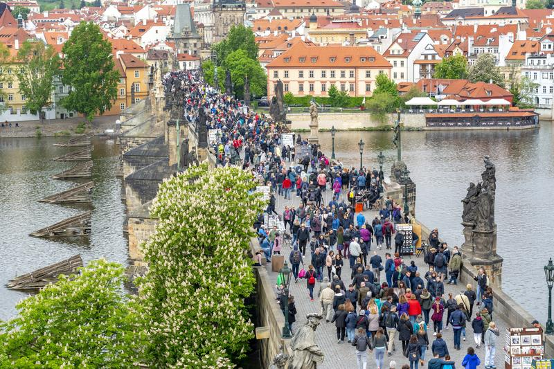 People walking on Charles bridge Karluv Most, Prague, Czech Republic royalty free stock photography
