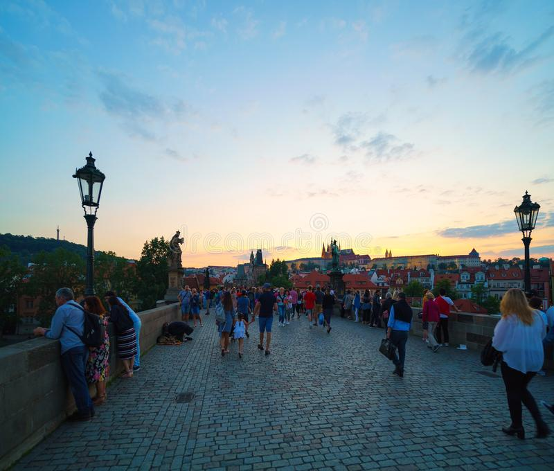 People walking on the Charles Bridge in Prague, Czech Republic. royalty free stock photography
