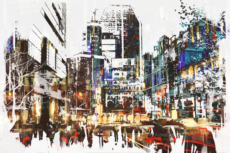 People walking in city with abstract grunge painting vector illustration