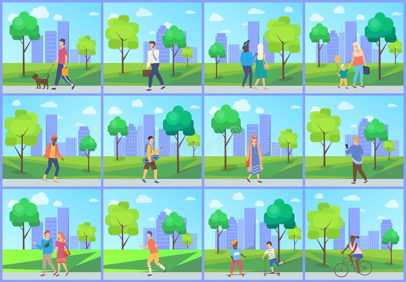 Man and Woman in Park, Leisure in City Vector. People walking in city park, man and woman going outdoor, family leisure and sporty activity, male and female vector illustration