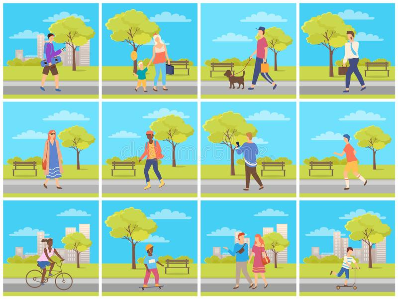 Man and Woman in Park, Leisure in City Vector. People walking in city park, man and woman going outdoor, family leisure and sporty activity, male and female stock illustration