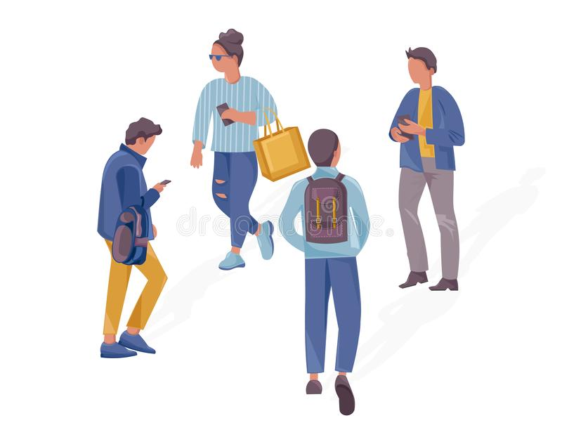 People walking concept Vector flat style illustrations. Set collection templates. People walking concept Vector flat style illustrations. Set collection template vector illustration